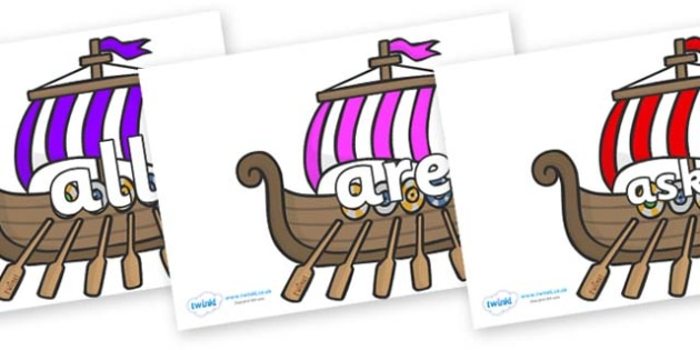 Tricky Words on Viking Longboats - Tricky words, DfES Letters and Sounds, Letters and sounds, display, words