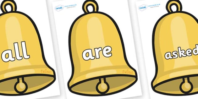 Tricky Words on Christmas Bell - Tricky words, DfES Letters and Sounds, Letters and sounds, display, words