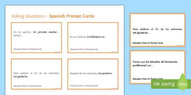 General Conversation Education Post 16 Question Prompt Cards