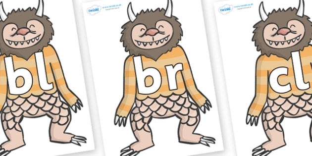 Initial Letter Blends on Wild Thing (1) to Support Teaching on Where the Wild Things Are - Initial Letters, initial letter, letter blend, letter blends, consonant, consonants, digraph, trigraph, literacy, alphabet, letters, foundation stage literacy