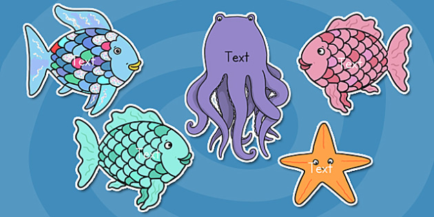 Editable Cut Outs to Support Teaching on Rainbow Fish - editable, rainbow fish, cut outs