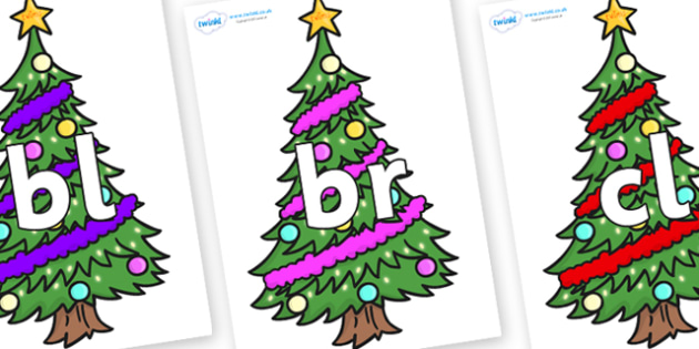 Initial Letter Blends on Christmas Trees (Decorated) - Initial Letters, initial letter, letter blend, letter blends, consonant, consonants, digraph, trigraph, literacy, alphabet, letters, foundation stage literacy