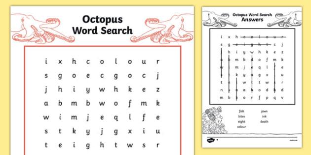 Australian Animals Years 3-6 Octopus Differentiated Word Search - australia, animals, years 3-6, octopus, differentiated, word search