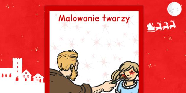 Świąteczny plakat Malowanie twarzy po polsku - kiermasz, zima