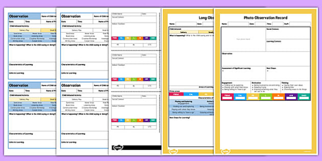 EYFS Observation Templates Pack - observe, early years, template
