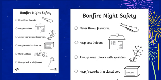 Bonfire Night Safety Poster Colouring Page