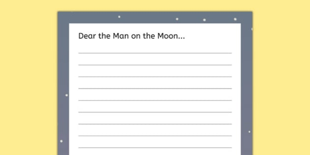 Send a Letter to the Man on the Moon Template - the man on the moon, template, letter, send