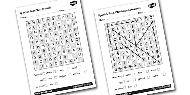 Spanish Food Wordsearch - worksheet, Spain, activities, activity