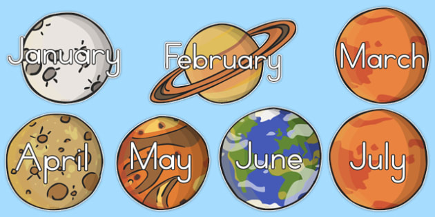 Months Of The Year Planets (Australia) - displays, month, visual