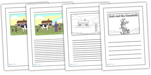 Jack and the Beanstalk Black and White Lined Writing Frames - jack and the beanstalk writing frames, jack and the beanstalk colour and write, templates