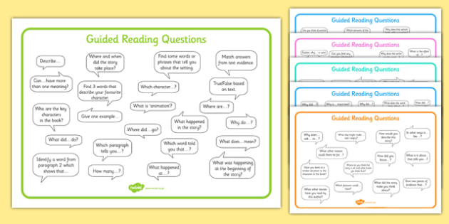 Guided Reading Question Mats - guided, reading, question, mats