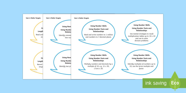 Year 6 Mathematics Assessment Targets on Speech Bubbles Display Cut-Outs - Back to school resources, Maths, Welsh, Assessment, Year 6, Display.,Welsh