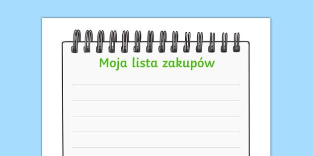 Lista zakupów Sklep ekologiczny po polsku