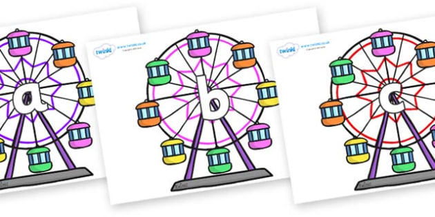 Phase 2 Phonemes on Ferris Wheels - Phonemes, phoneme, Phase 2, Phase two, Foundation, Literacy, Letters and Sounds, DfES, display