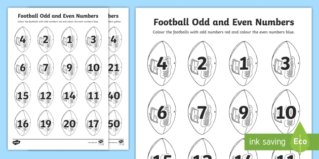 Football Odd and Even Numbers Colouring Activity Sheet