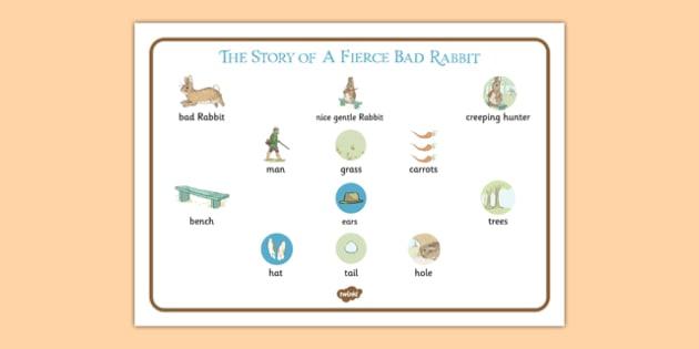 Beatrix Potter - The Story of a Fierce Bad Rabbit Word Mat - beatrix potter, fierce bad rabbit