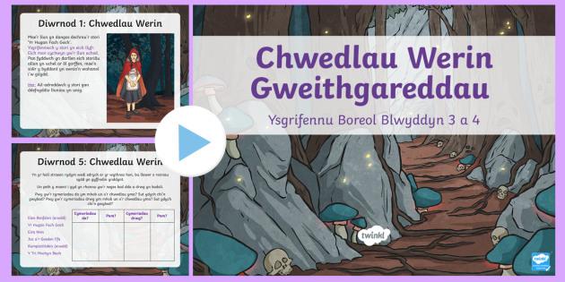 Pŵerbwynt Gweithgareddau Boreol Blwyddyn 3 a 4 Wythnos 1 Chwedlau Werin - Reading Comprehensions - Welsh medium/Welsh Language, ysgrifennu, Iaith, Cymraeh, chwedlau werin, cy