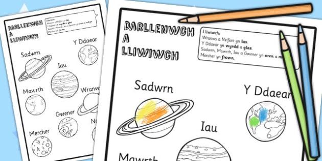 Taflen Darllen a Lliwio 'Y Planedau' - gofod, wales
