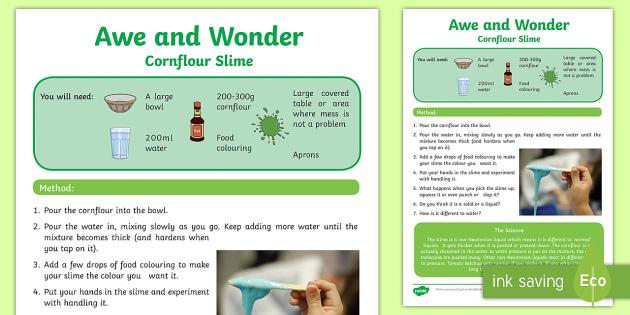 Cornflour Slime Awe and Wonder Science Activity Sheet - Awe and Wonder Science Activities, oobleck, slime, cornflour, non-newtonian fluids, non-newtonian li