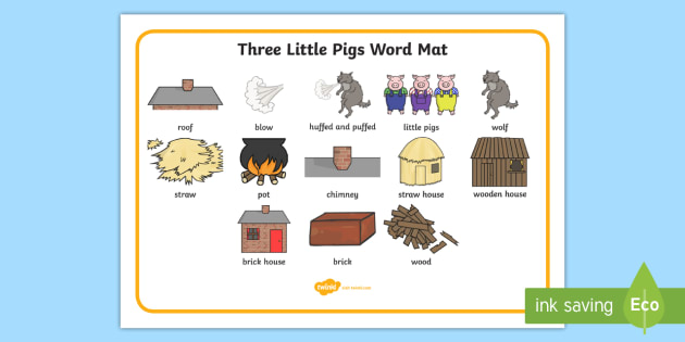 The Three Little Pigs Word Mat - Three little pigs, word mat, writing aid, traditional tales, tale, fairy tale, pigs, wolf, straw house, wood house, brick house, huff and puff, chinny chin chin