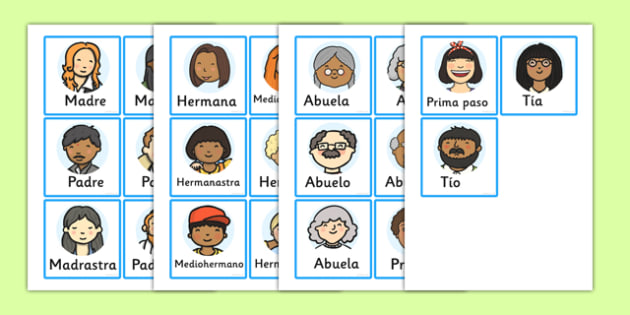 Family Members Role Play Badges Spanish - spanish, family, role play, badges, badge, ourselves, mum, dad, brother sister, grandpa, grandma, uncle, aunt, KS1, ourselves, all about me, my body, senses, emotions, family, body, growth, granpa