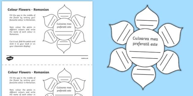 MFL Romanian Colour Flowers Activity Sheet, worksheet