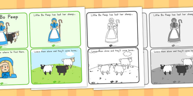Little Bo Peep Story Sequencing 4 per A4 - Australia, Little, Bo