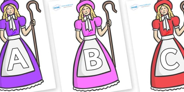 A-Z Alphabet on Little Bo Peep - A-Z, A4, display, Alphabet frieze, Display letters, Letter posters, A-Z letters, Alphabet flashcards