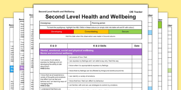 Health and Wellbeing – Second Level CfE Tracker-Scottish
