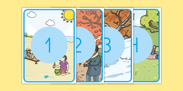 El tiempo y las estaciones del año Números de exposición-Spanish