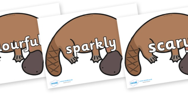 Wow Words on Platypus - Wow words, adjectives, VCOP, describing, Wow, display, poster, wow display, tasty, scary, ugly, beautiful, colourful sharp, bouncy