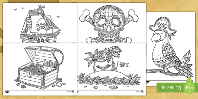 Pirates Themed Mindfulness Colouring Pages