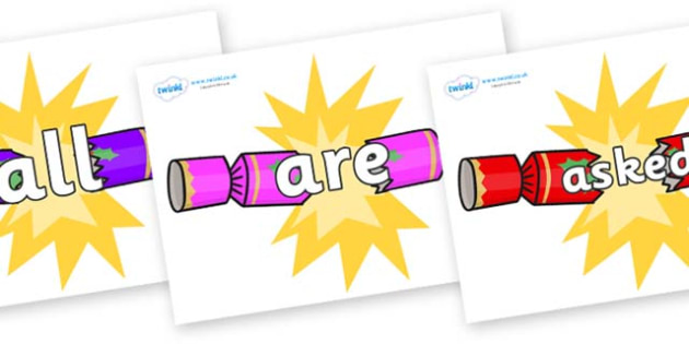Tricky Words on Christmas Crackers (Cracking) - Tricky words, DfES Letters and Sounds, Letters and sounds, display, words