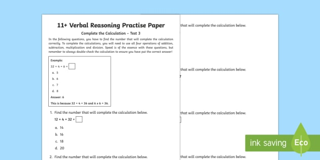 11+ Verbal Reasoning Practice Paper: Complete the Calculation 3 Assessment Pack
