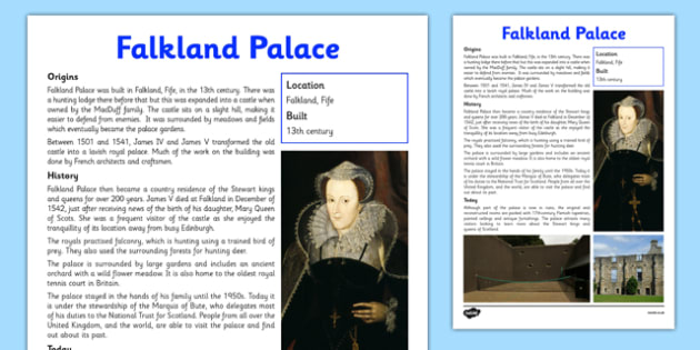 Falkland Palace Information Sheet - First Level, Social Studies, Scottish history, Scottish Castles
