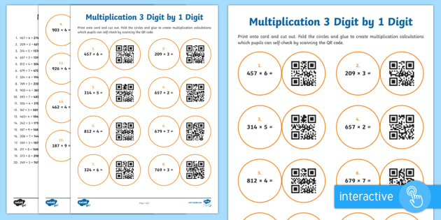 Multiplying 3 Digit by 1 Digit Numbers Code Hunter - QR Codes, maths, multiplication