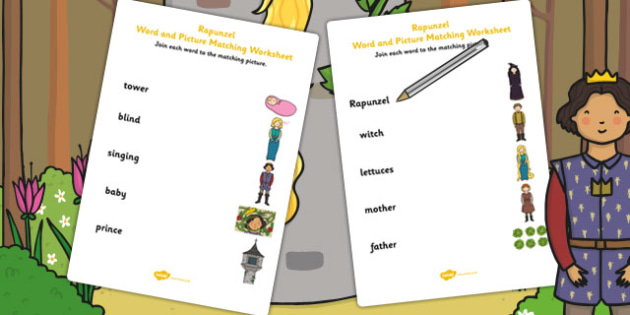 Rapunzel Word and Picture Match - word, picture, match, rapunzel