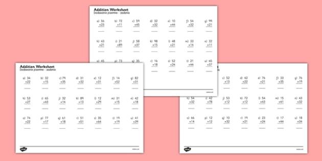 2 Digit Number Addition Worksheets Polish Translation - polish, addition, 2-digit, number