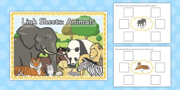 Link Sheets: Animals - link, sheets, animals, sen, label, describe
