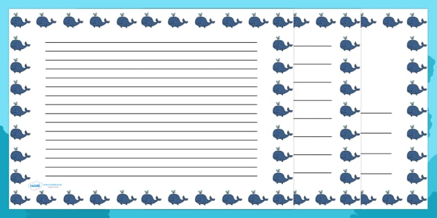 Whale Cute Landscape Page Borders (Under the Sea) - Landscape Page Borders - Page border, border, writing template, writing aid, writing frame, a4 border, template, templates, landscape