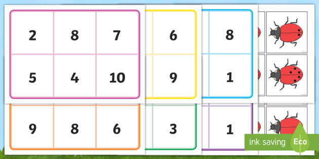 Ladybird Bingo (0-10) - Minibeasts - Ladybird, bingo, number game, 0-10, Number words, Numerals, Foundation Numeracy, Number recognition, Number flashcards , minibeasts, numeracy, numbers, numbers to 10, 1-10, bingo, minibeasts