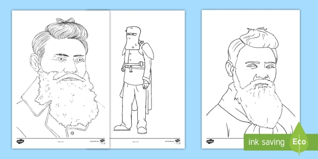 Ned Kelly Colouring Pages - Bushrangers, ned Kelly, Kelly gang,Australia, armour.
