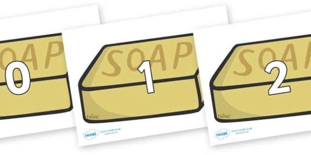 Numbers 0-50 on Soap - 0-50, foundation stage numeracy, Number recognition, Number flashcards, counting, number frieze, Display numbers, number posters