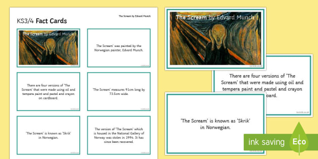The Scream by Edvard Munch Fact Cards - the scream, edvard munch, paint, painting, painter, artist, famous, fact cards