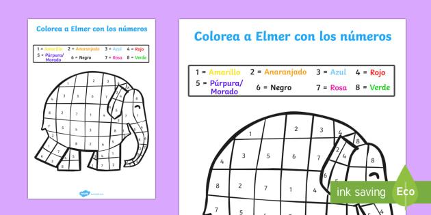 Colorea con números con Elmer - cuentos, carácteres, motricidad fina, pintar