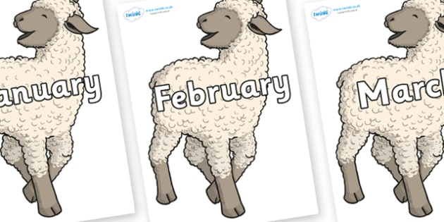 Months of the Year on Lamb - Months of the Year, Months poster, Months display, display, poster, frieze, Months, month, January, February, March, April, May, June, July, August, September