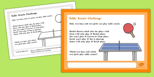 Table Tennis Maths Challenge A4 Display Posters - Maths, Tennis