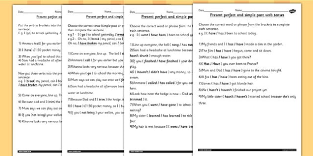 Using the Present Perfect Form of Verbs Contrast to Past Tense – Perfect Verb Tense Worksheet