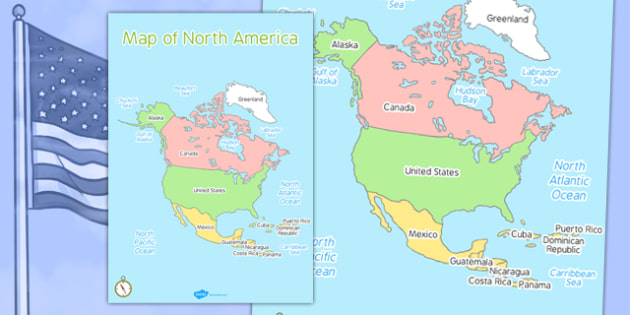 Map of North America - map, north america, continent, countries