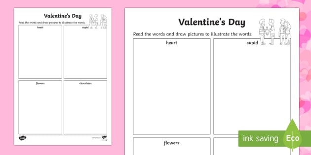 Valentine's Day Read and Draw Activity Sheet - Valentine's Day,  Feb 14th, love, cupid, hearts, valentine,